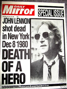 JOHN-LENNON-Shot-Dead-Newspaper-The-Beatles-New-York-Liverpool-Signed-Old-Retro