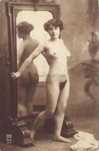 Jean-Agelou-Femme-nue-au-miroir-Artistique-Paris-Vintage-argentique-ca-1910
