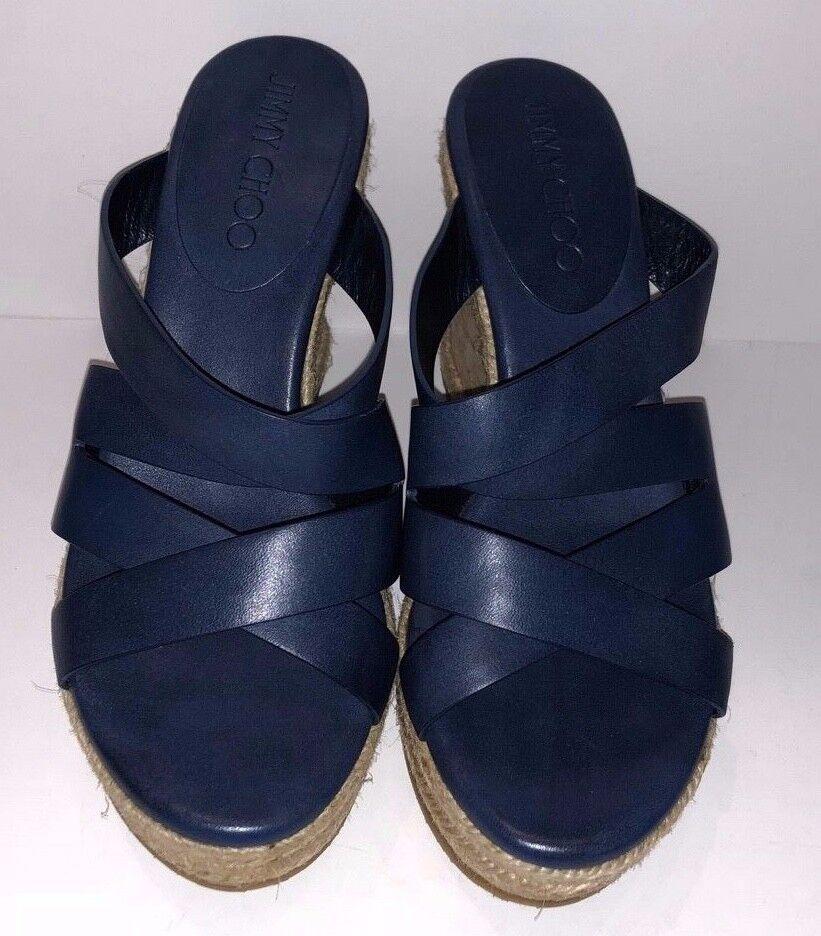 NWOB Jimmy Choo Prisma blu Vachetta Wedge  Leather Sandal Spanish Sz 36  fino al 60% di sconto