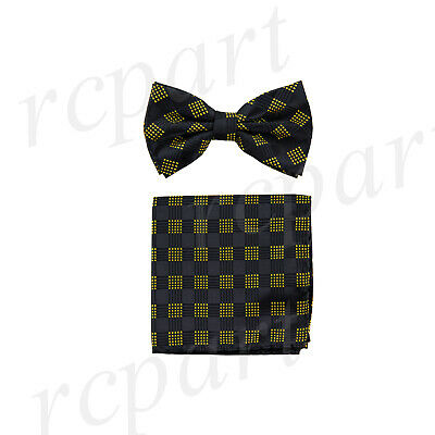 New Men/'s Pre-tied Bow tie /& hankie blue silver plaids /& checkers formal