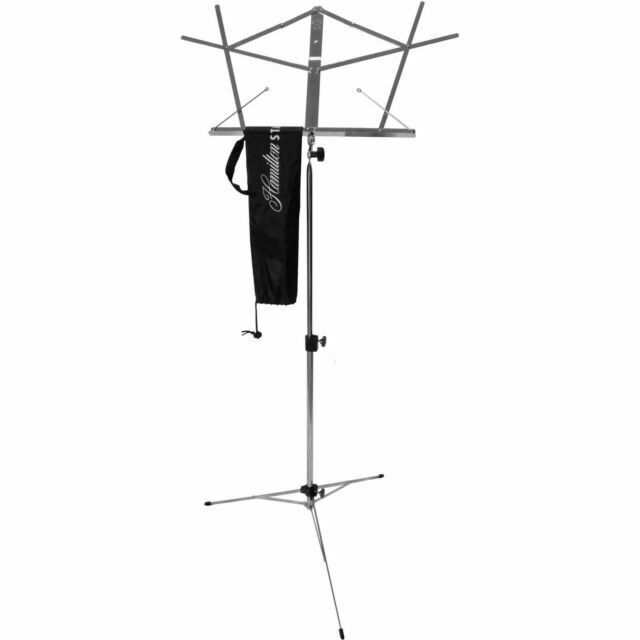 On Stage Folding Music Stand with Carrying Bag Chrome