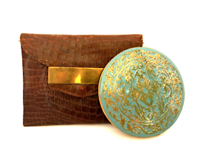 Vintage Rex Fifth Avenue Compact Turquoise Gold W/ Leather Pouch 4.5 x 6