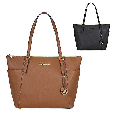 Michael Kors Jet Set Top-Zip Saffiano Leather Tote in Luggage/ Black  - LARGE