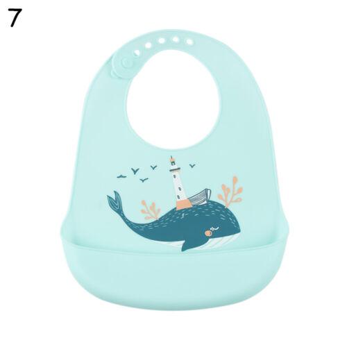 Waterproof Silicone Bibs Feeding Weaning Baby Toddler Crumb Catcher Wipe Cloth