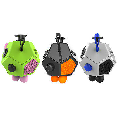1PC Fidget Anxiety Stress Pressure Relief Cube Focus 12-Side Adult Kids Toy Gift