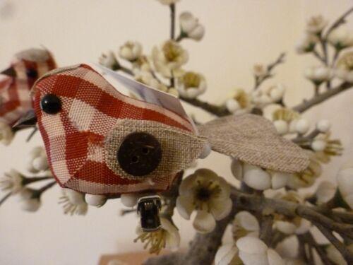 Gisela graham tissu vichy /& bouton oiseau sur un clip décoration de noël 3 asst