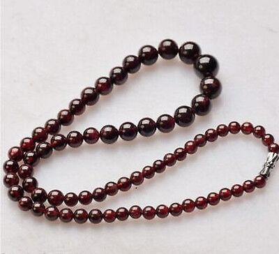 """Fashion 4-12mm Natural Dark Red Garnet Round Gemstone Beads Necklace 18/"""" AAA"""