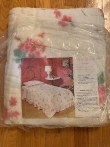 VTG-USA-Pink-White-Floral-Rose-Shower-Blanket-Sheet-72-x-90-Pink-Binding-New