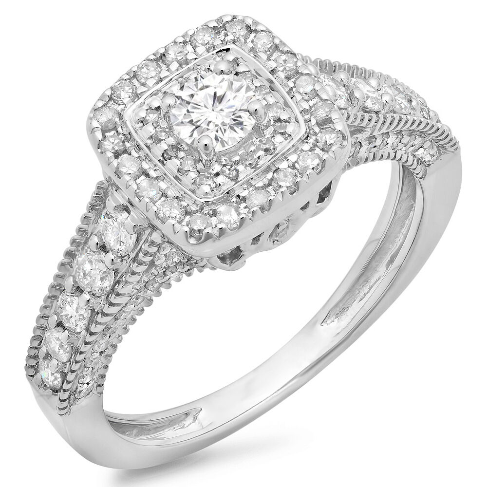 0.90 CT 14K White gold Round Cut White Diamond Ladies Bridal Vintage Halo Ring