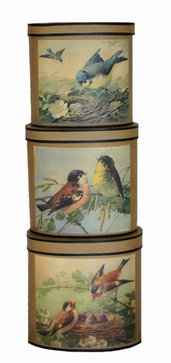 BOX Schachtel Gr. M   Love Vogel   Oval Pappmaché KARTON Boîte VTG LARGE BOX | Qualitätskönigin