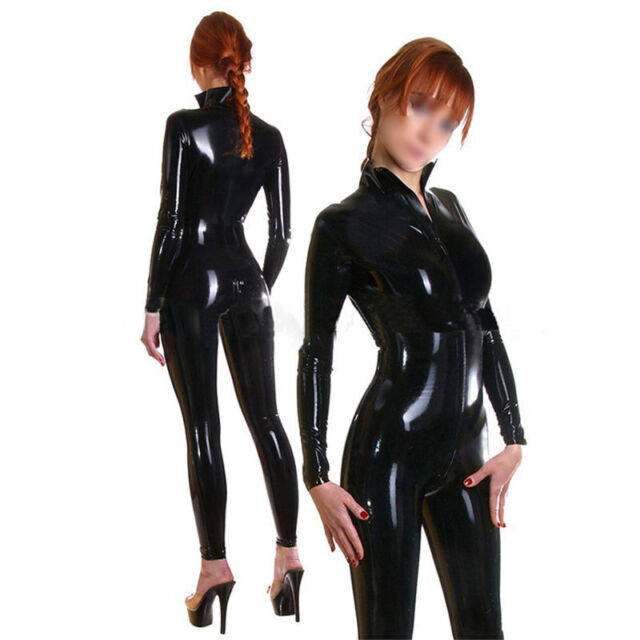 Latex Women Catsuit Front ZIPPER Rubber Bodysuits Customize Plus ...