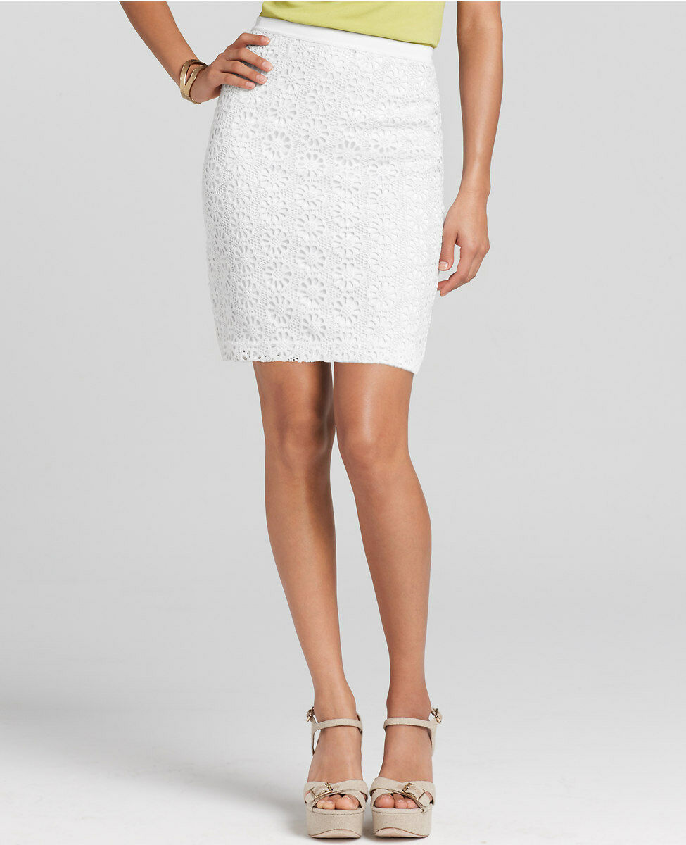 Ann Taylor Lace Novelty Skirt NWT Size 12 Petite White color