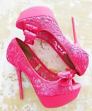 Qupid Hot Pink Mesh Lace Bow Womans Peep Toe Stiletto Heels Sz 8 New With Box
