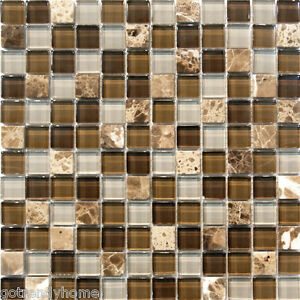 Image Is Loading 10SF Grey Brown Stone Glass Mosaic Tile Kitchen
