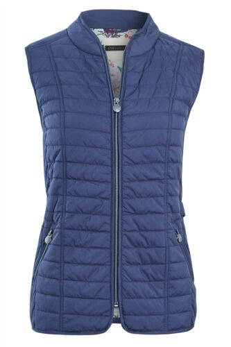Ladies Mustard Navy Sleeveless Waistcoat Contrast Floral Lining Gilet Jacket Top