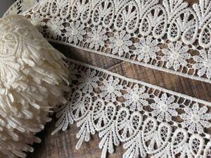 """laverslace Quality White Green Leaf Cotton Cluny Crochet Lace Trim 1.25/""""//3cm"""