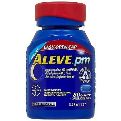 Aleve PM Pain Reliever/Nighttime Sleep-Aid Caplets 80 ea