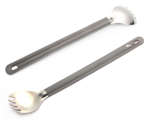 TOAKS TOAKS Ultralight Titanium Spoon Long Handle Spork with Polished Bowl