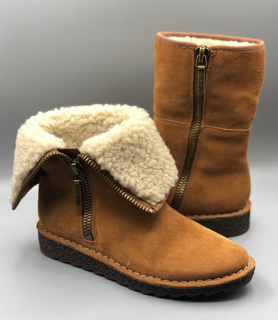 NEW Clarks  Oslo Oslo Oslo Beth  Ladies Tan Suede Winter Warm 2 in 1 Ankle Boots UK 3 D 0b6501