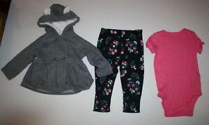 New Carter/'s 3 Piece Fleece Gray Cardigan Bodysuit Pant Set NWT 12 18 24 M Girls