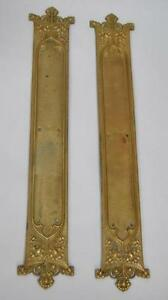 Image is loading ANTIQUE-BRASS-GOTHIC-REVIVAL-PAIR-OF-DOOR-PUSH- & ANTIQUE BRASS GOTHIC REVIVAL PAIR OF DOOR PUSH PLATES   eBay