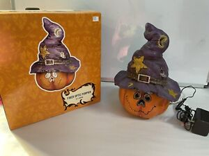 "12"" Halloween Fiber Optic Pumpkin with Witch Sorcerer  Hat Jack O' Lantern"
