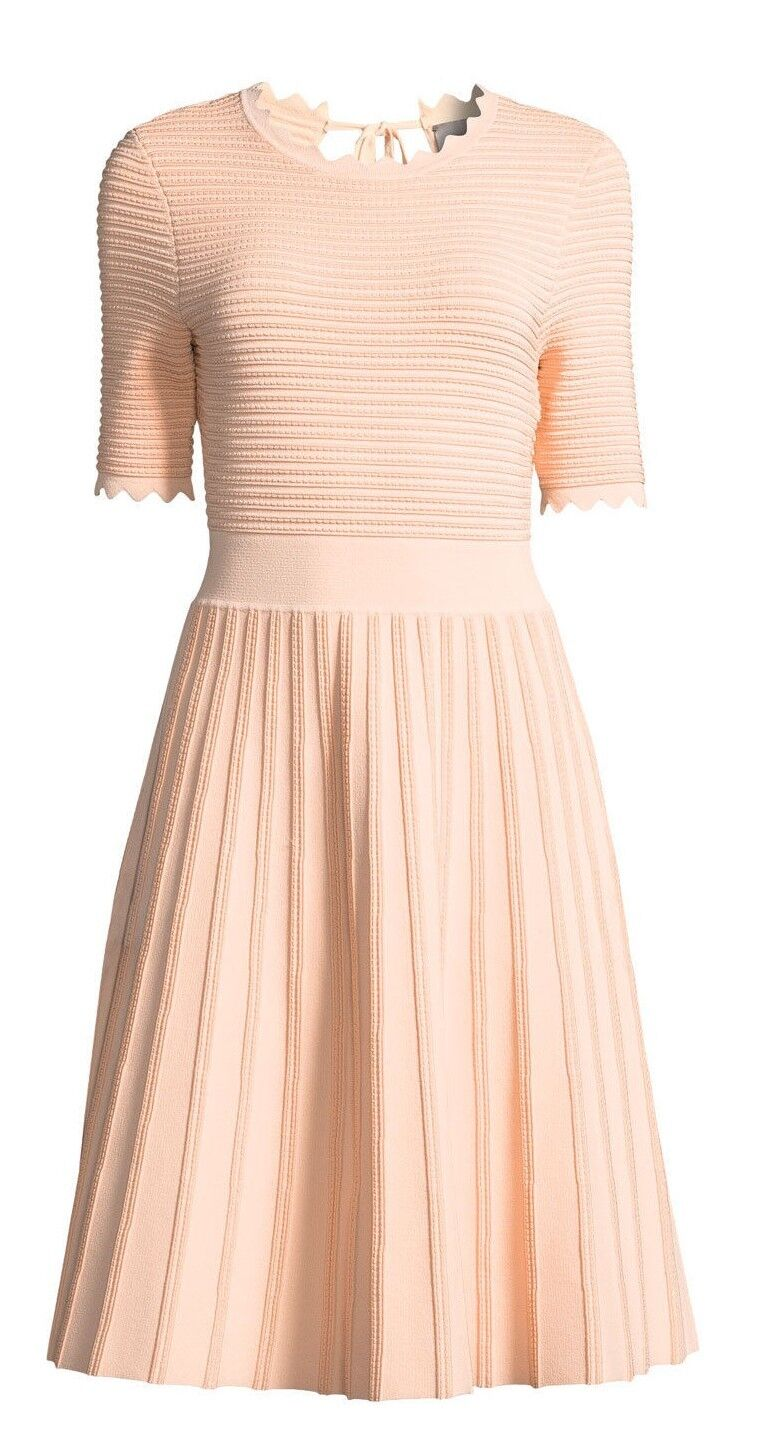 NEW LELA pink Textured Half Sleeve Scalloped Knit Dress bluesh Peach M L XL