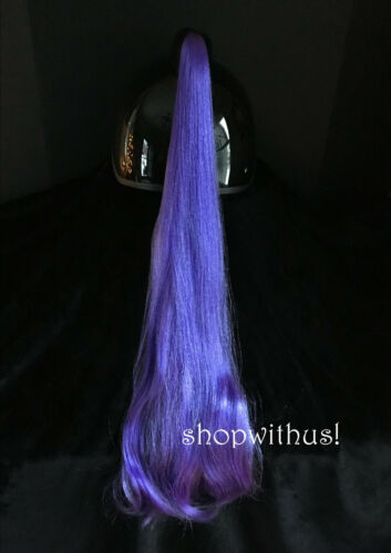 Purple Helmet Ponytail~ Motorcycle Snowmobile Skateboard ATV Bike Pony Tail *New
