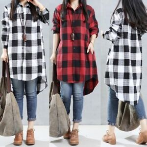 0acb7f897bc3e8 UK 8-24 Women Plaid Check Button-down Long Sleeve Casual Loose Tops ...