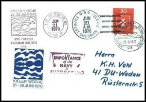 USS Forrest Sherman (DD 931) 1970 Sea Post Ship Marine Schiffspost Schiff 505 - Sokólka, Polska - USS Forrest Sherman (DD 931) 1970 Sea Post Ship Marine Schiffspost Schiff 505 - Sokólka, Polska