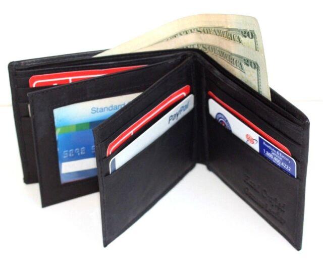 Black Leather Men Bifold Wallet Slim Id Credit Card Hideaway Zip 2 Center Flap