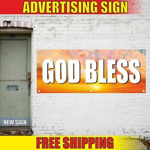 GOD-BLESS-Advertising-Banner-Vinyl-Mesh-Decal-Sign-PRAYER-CHURCH-Jesus-Christ