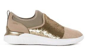 Dettagli su GEOX RESPIRA THERAGON D848SA scarpe donna sneaker pelle camoscio paillettes slip