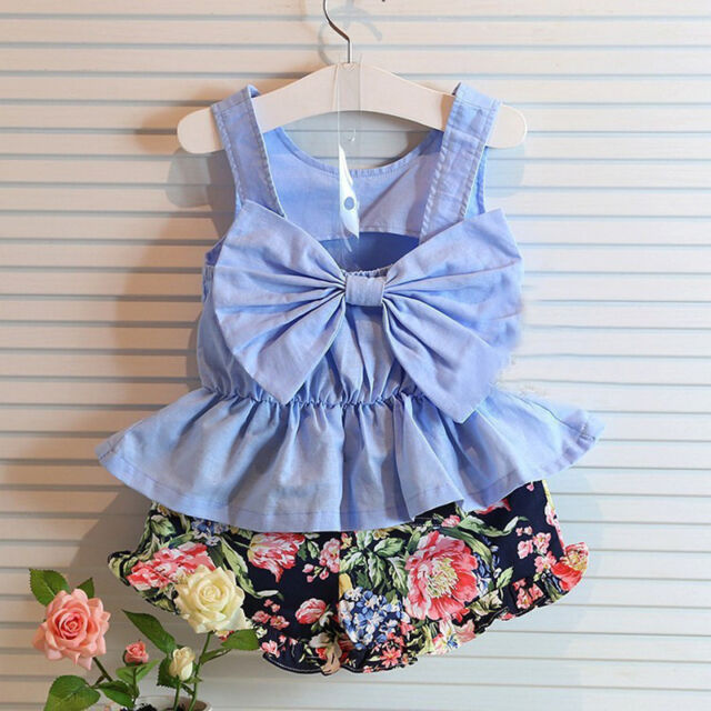 Baby Girls Kids Sleeveless Summer Vest Bowknot T-shirt Tops+ Floral Pants Outfit