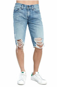 True Religion Men s Ricky Distressed Cut Off Denim Jean Shorts in ... a0088505107
