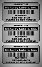 2 X 1 Custom Mat Silver Metalized Polyester Asset Labels Property Tags