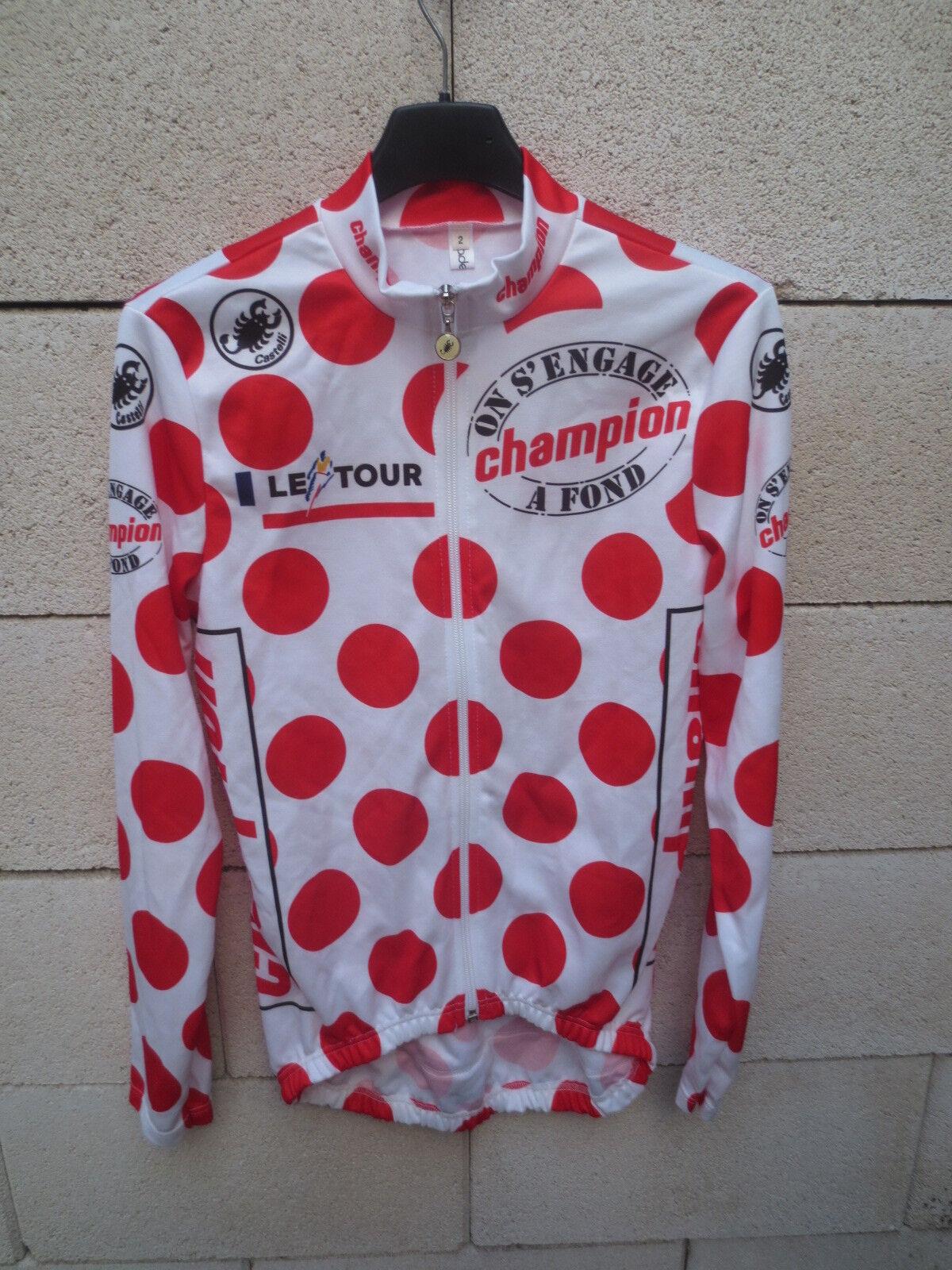 Maillot cycliste à POIS shirt Tour de France 1993 ROMINGER manches longues 2 S