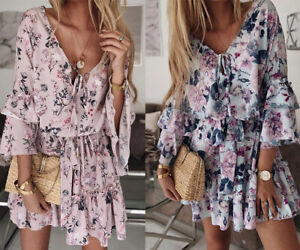 Women Lady Summer Sundress Short Floral Dress Boho Holiday Beach Party Cocktail