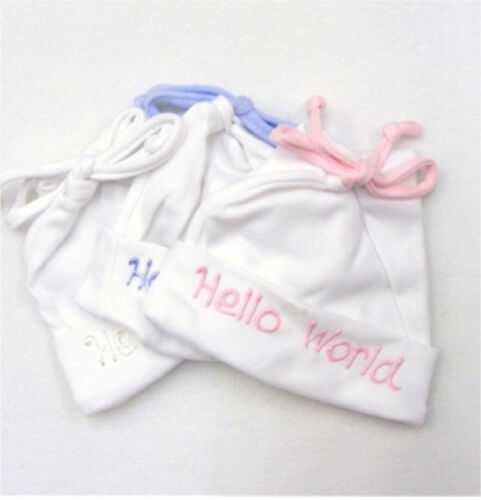 Hello World Tie Top Cotton Soft Touch Baby Hat