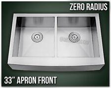 """33"""" Apron Front Farmhouse 16 Gauge Farm Stainless Steel Kitchen Sink Zero Radius"""
