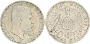 2 Mark Württemberg Wilhelm II 1906 F VF+ 48445