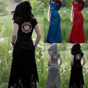 a1731dd2dfe17 Women Medieval Renaissance Vintage Hooded Long Dress Gowms Dress ...