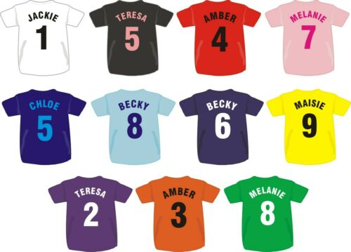 Personalised Printed Child/'s Children/'s Football Style T Shirt Team Club Boys