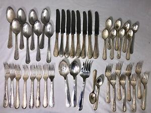 Becket-von-Oneida-Silversmiths-Silverplate-Bestecke-Silberbesteck-43pc-Service-fuer-8