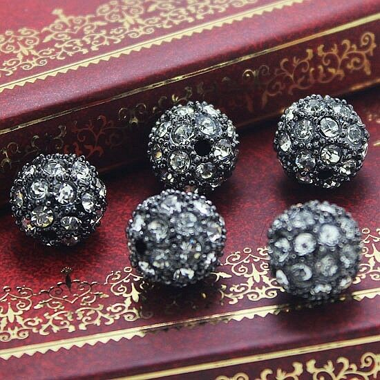 10MM 20PCS ROUND METAL BEAD PAVE CRYSTAL RHINESTONE DISCO BALLS FINDINGS 6 COLOR