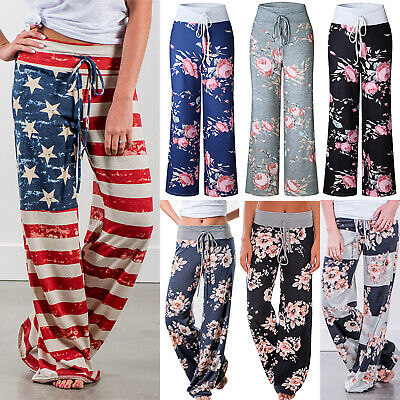WUAI-Women Comfy Yoga Pants High Waist Solid Flare Pants Stretchy Bell Bottom Trousers Plus Size