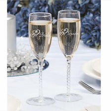 Wedding Champagne Glasses Toasting Glass Flutes Set 2 Bride Groom Glassware Gift