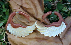 Fake Gauge Earrings ,Tribal Style, Mother of pearl Shell ,hand carved swan