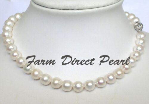 """Long 20/"""" pouces véritable ronde 9-10 mm blanc collier de perles de culture d/'eau douce"""