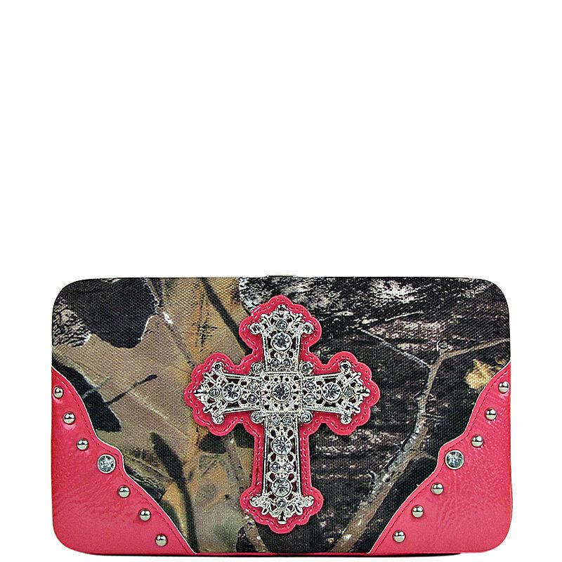Mossy Oak Camo Rhinestone Cross Wallet - Hot Pink Camouflage Ladies Clutch